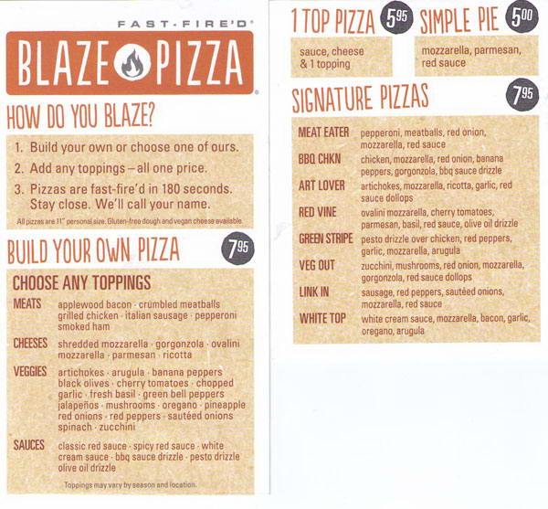 Blaze Pizza Menu