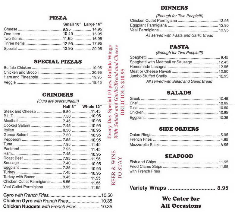 Campus Pizza Menu