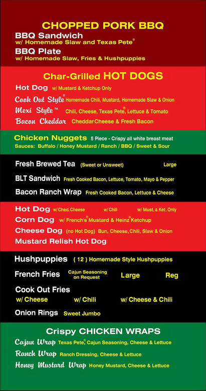 Cook Out Menu