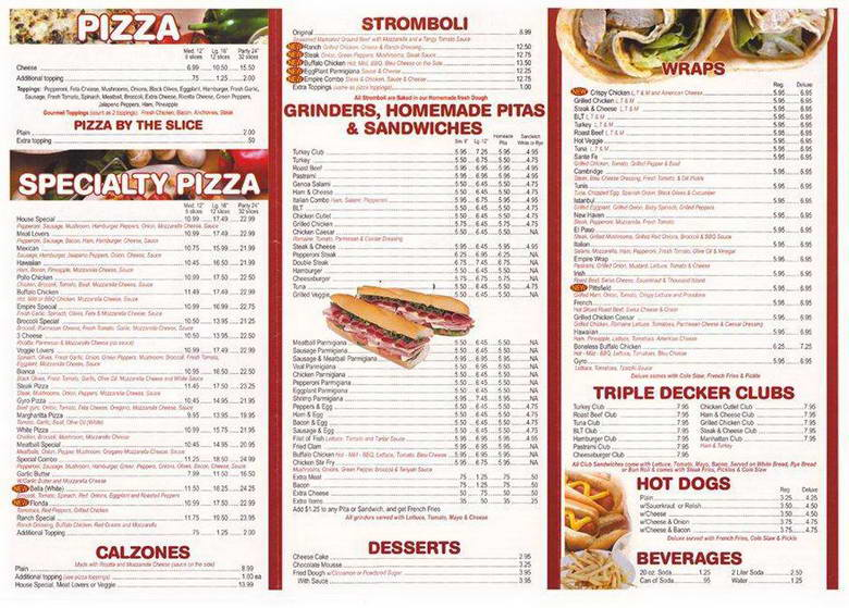 Empire Pizza Menu