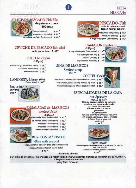 Fiesta Mexicana Menu