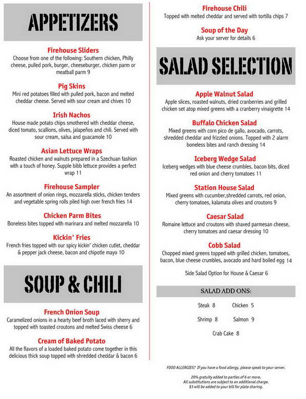 Firehouse Grill Menu