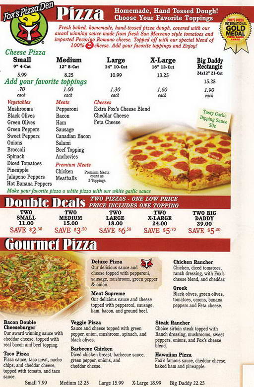 Fox's Pizza Menu
