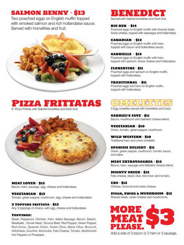 Gabriel's Pizza Menu