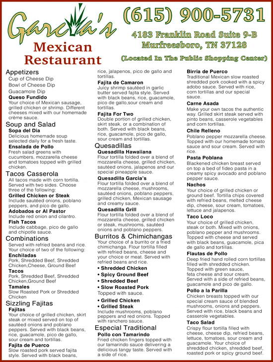 Garcia's Mexican Restaurant Menu