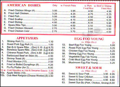 Golden House Menu