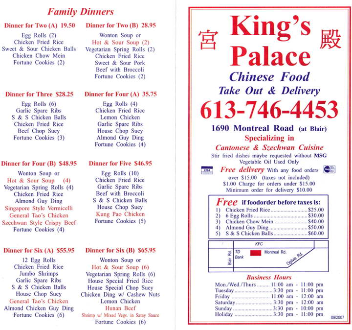 King's Palace Menu