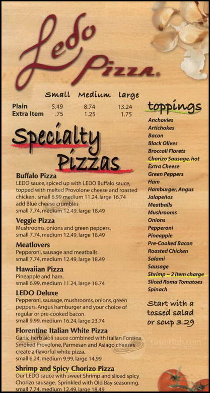 Ledo Pizza Menu