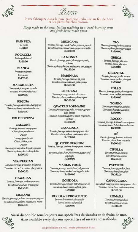 Luigi's Pizza Menu