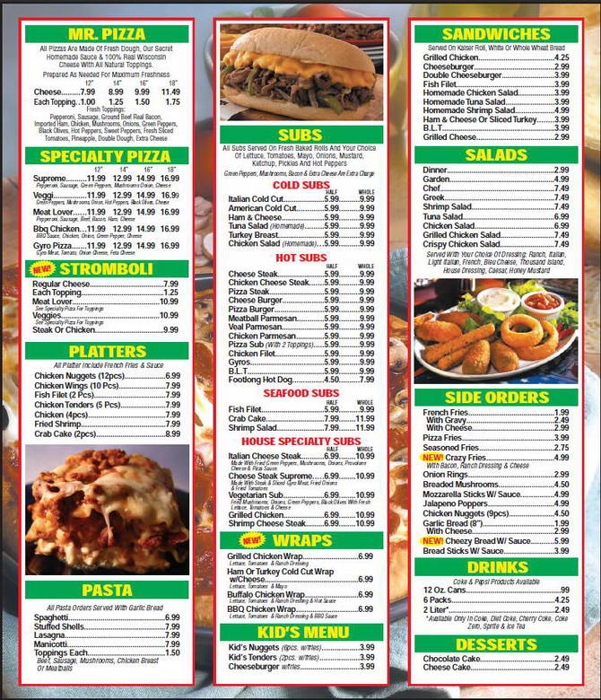 Mr. Pizza Menu