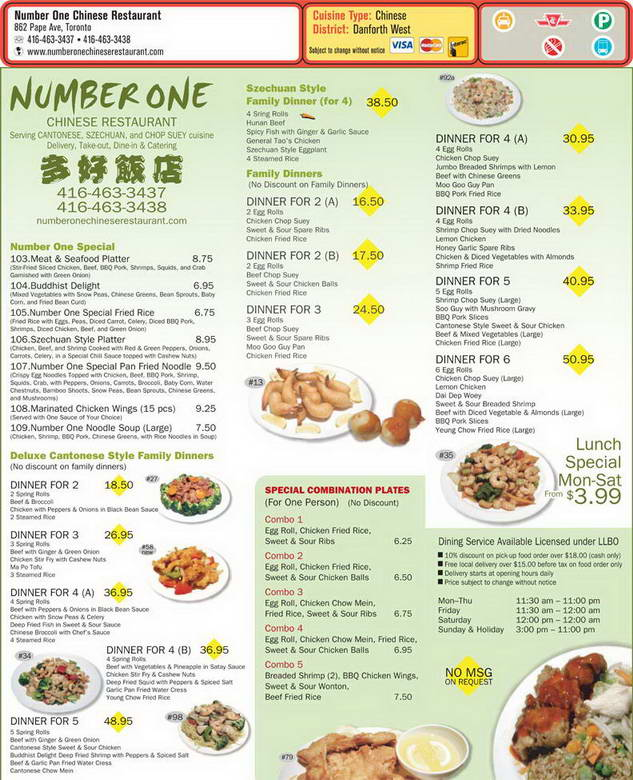 Number One Chinese Menu
