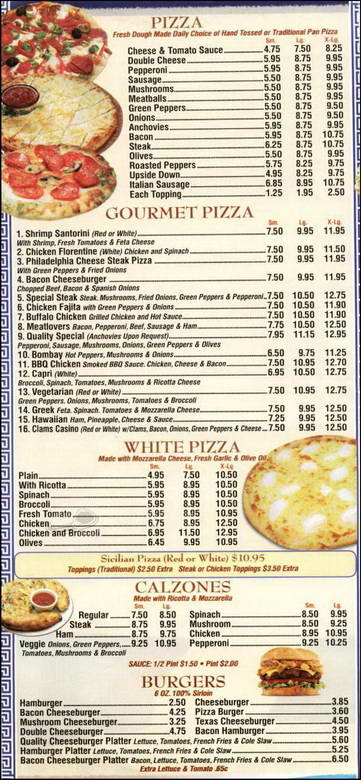 Quality Pizza Menu