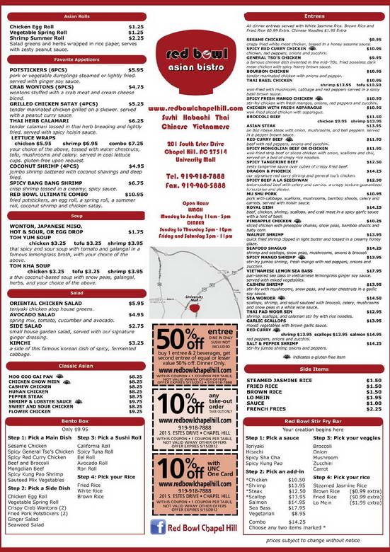Red Bowl Menu
