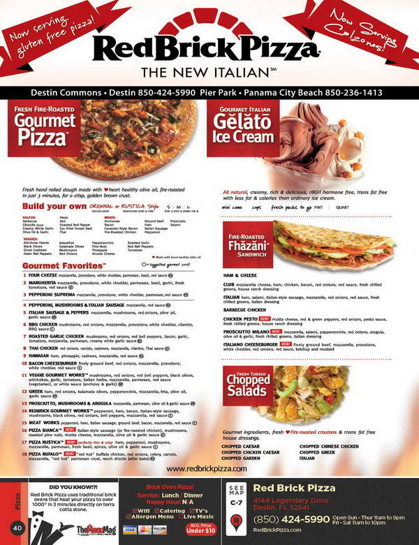 Red Brick Pizza Menu