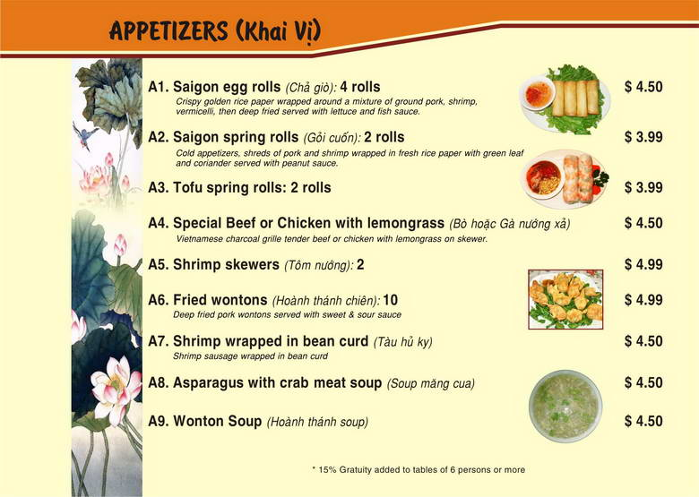 Saigon Bistro Menu