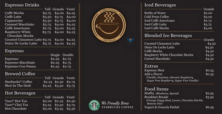 Starbucks Coffee Menu