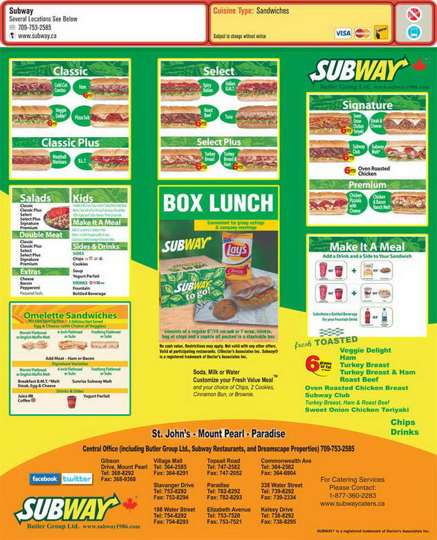 Subway Store Menu