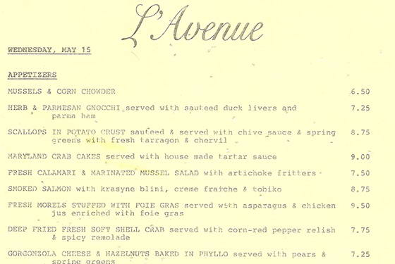 The Avenue Menu