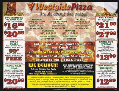 Westside Pizza Menu