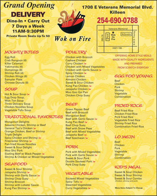 Wok On Fire Menu